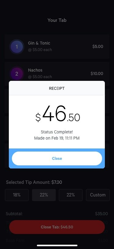 Confirm tip and payments on phone email text receipt