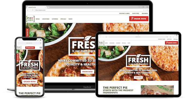 smartphone, tablet and laptop all with same online ordering portal logged in