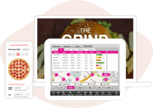 ipad pos restaurant screen open with online orders and customers order on phone screen image of pizza